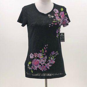 Esperanza New York Black burnout Floral tshirt S